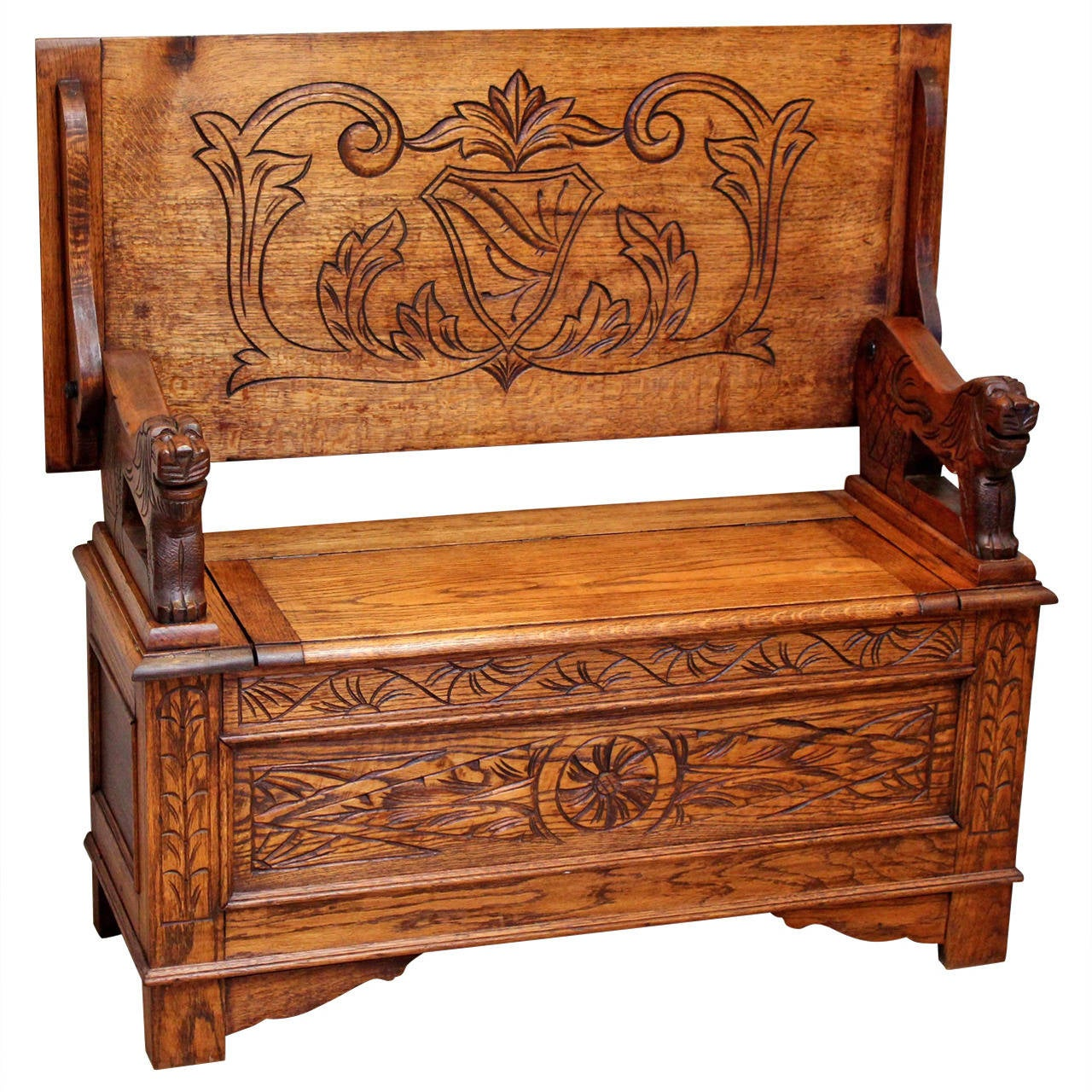 Solid oak carved monks bench at 1stdibs Oak bench