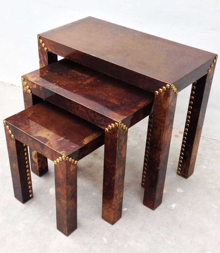 Sarreid Patinated Brass Nesting Tables For Sale at 1stdibs