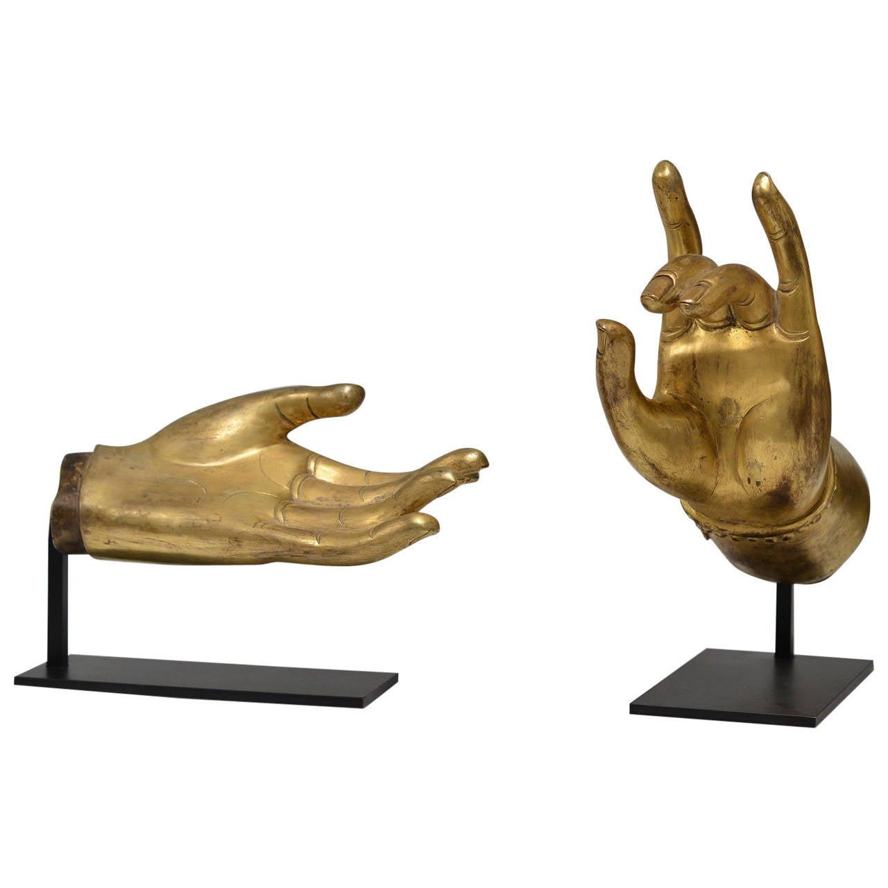 group of two fine cast gilt bronze buddha hands 19th. Black Bedroom Furniture Sets. Home Design Ideas