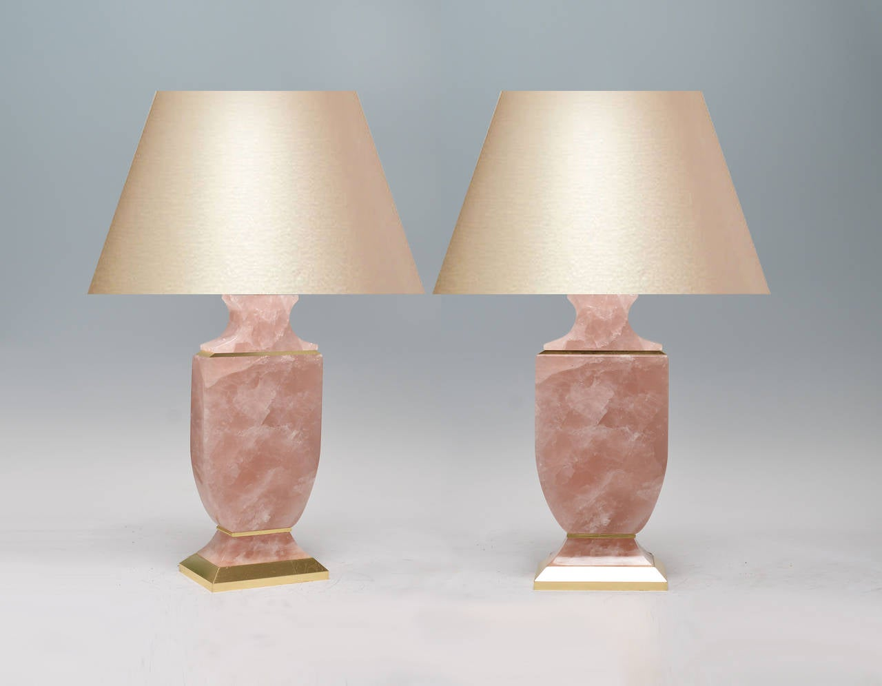 Pair of Carved Rock Crystal Rose Quartz Lamps at 1stdibs