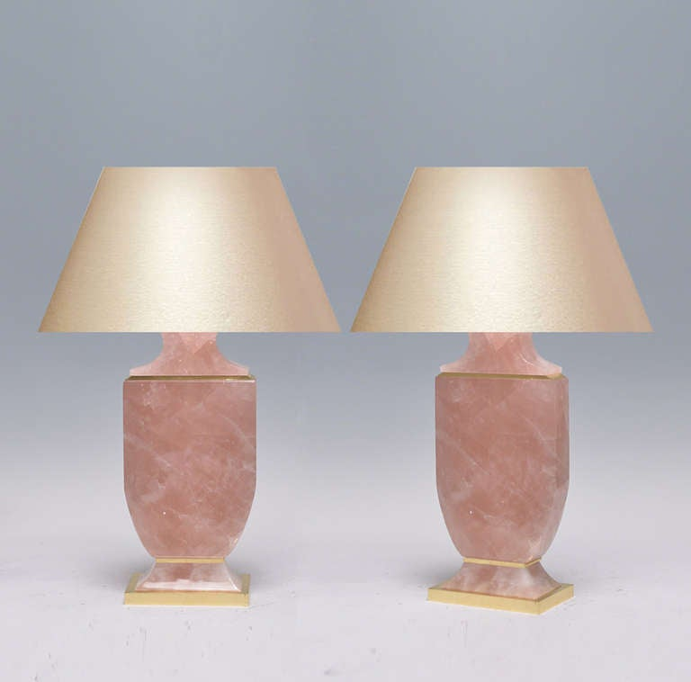 a pair of fine carved pink rock crystal lamps with gilt. Black Bedroom Furniture Sets. Home Design Ideas