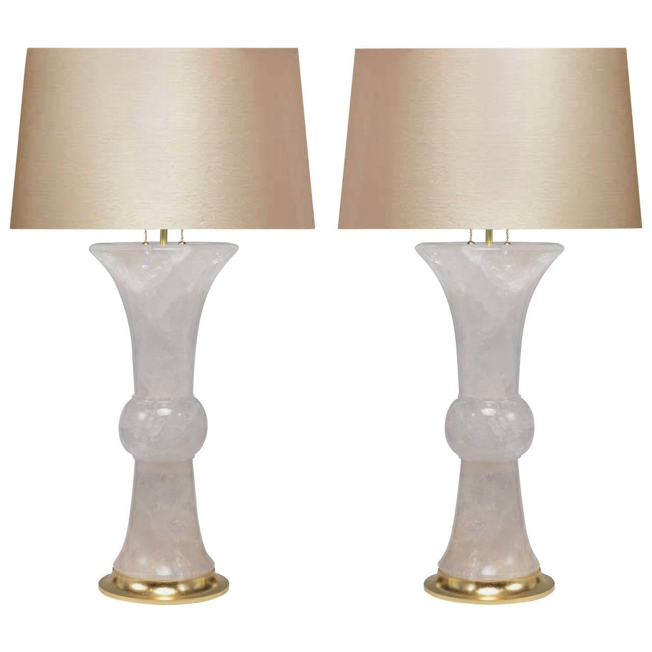 Pair of Beaker Vases Form Rock Crystal Quartz Lamps