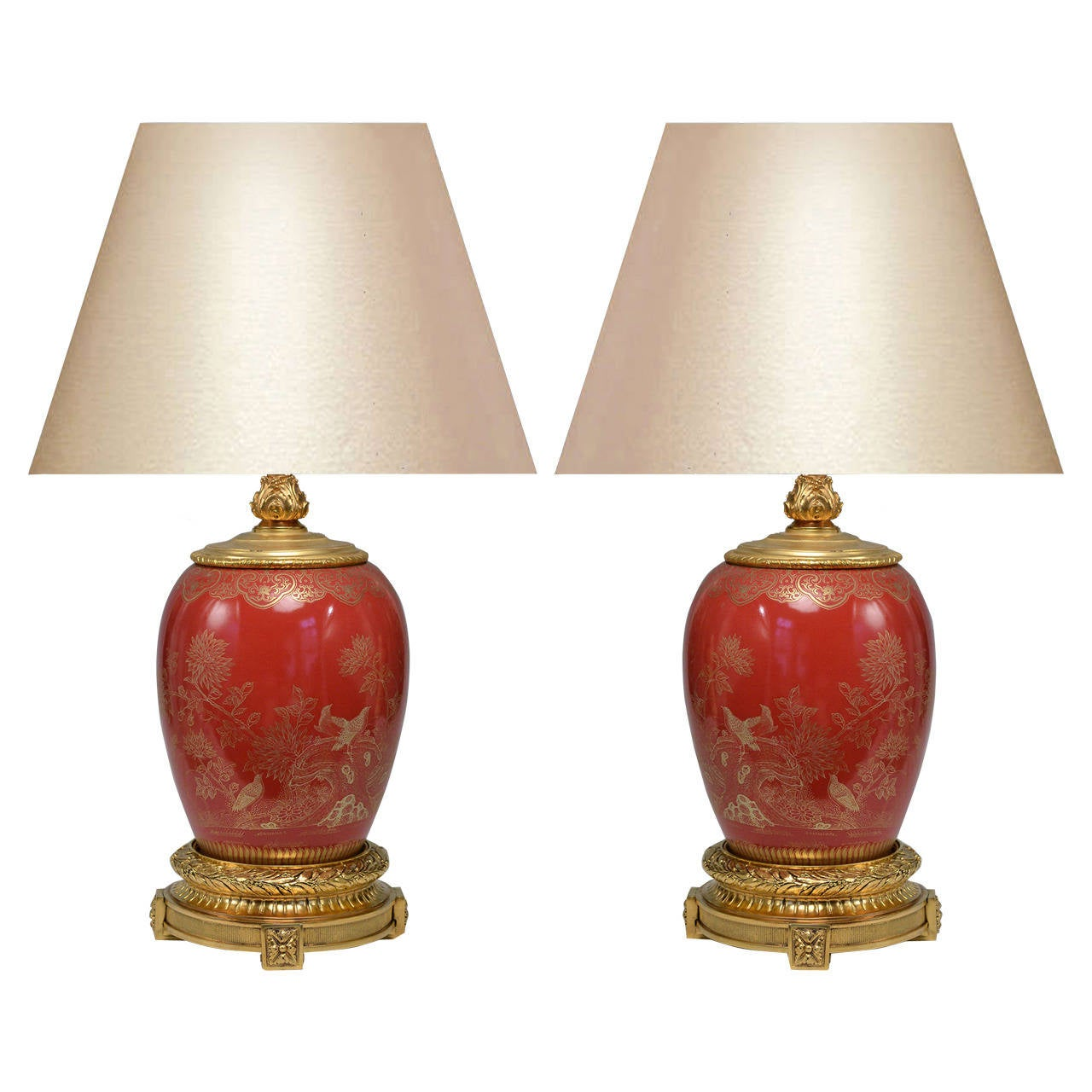 pair of ormolu mounted red porcelain lamps for sale at 1stdibs. Black Bedroom Furniture Sets. Home Design Ideas
