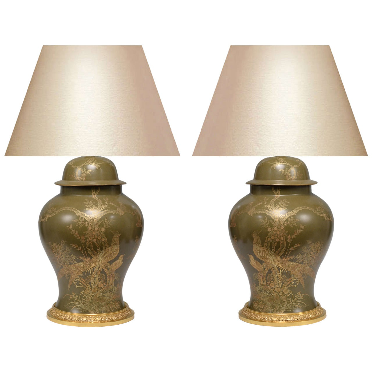 Pair of Green Glazed Porcelain Vases Mounted as Lamps