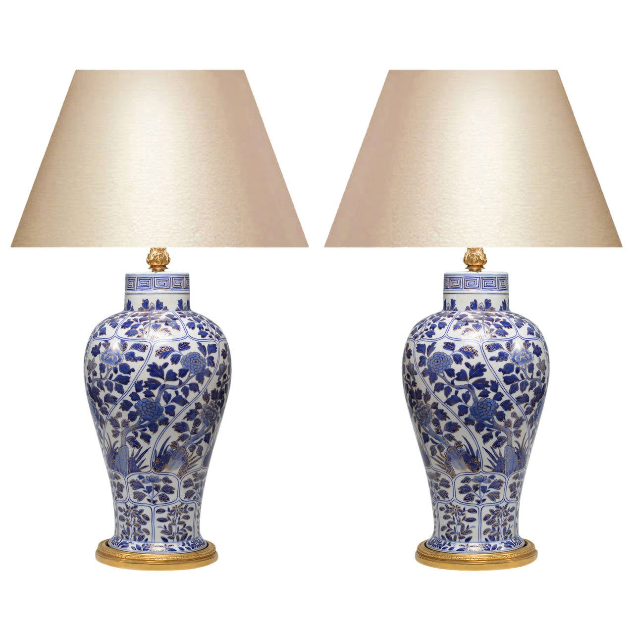 pair of fine painted blue and white porcelain vases. Black Bedroom Furniture Sets. Home Design Ideas
