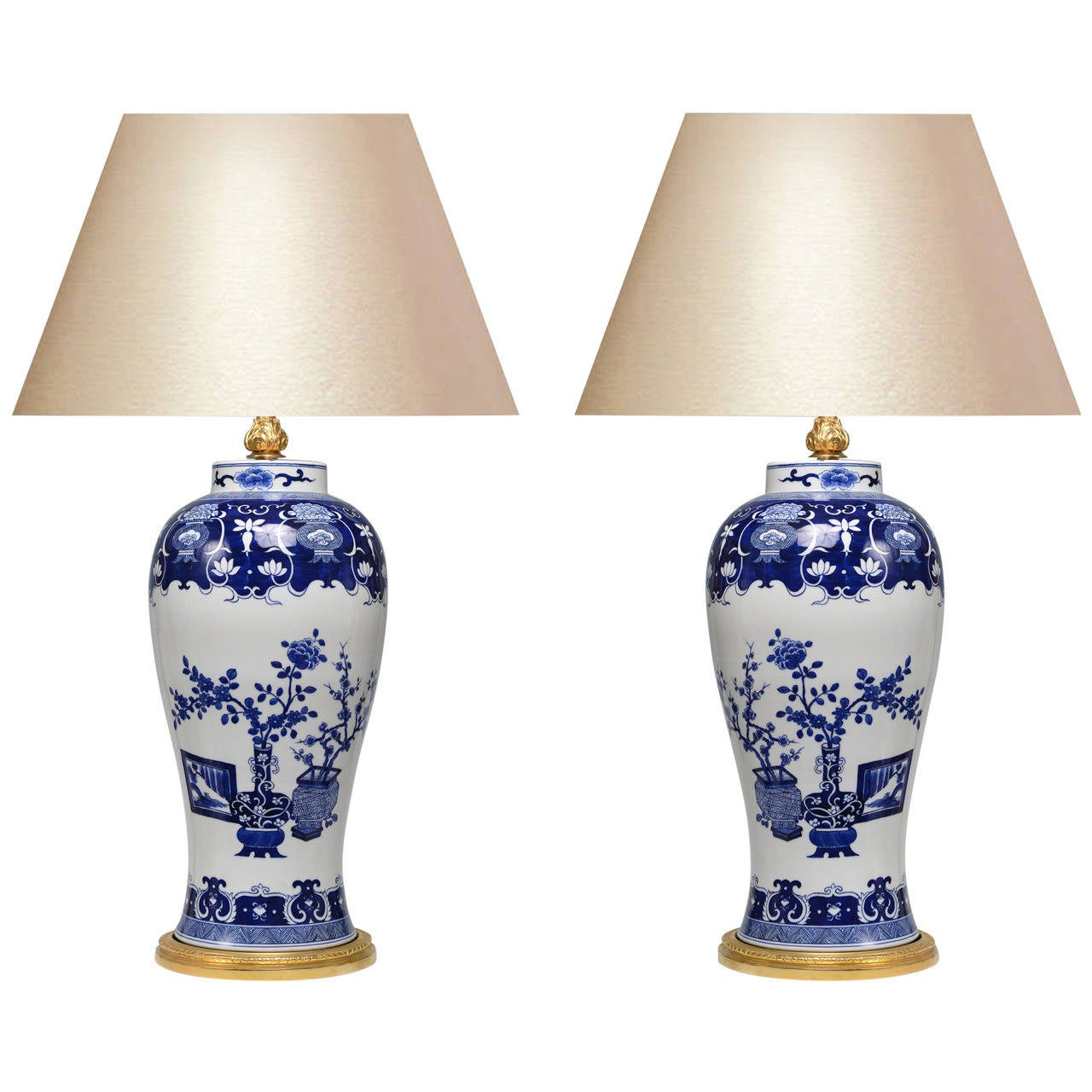 pair of blue and white porcelain lamps with gilt brass bases at. Black Bedroom Furniture Sets. Home Design Ideas