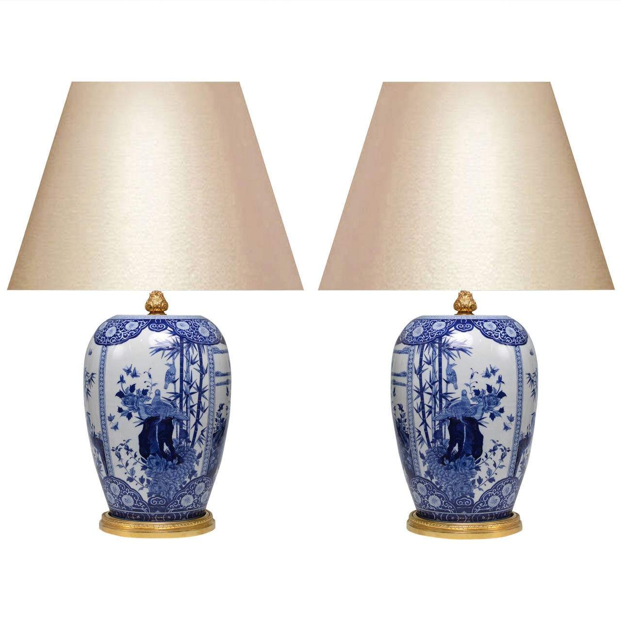 this pair of blue and white porcelain lamps with gilt brass bases is. Black Bedroom Furniture Sets. Home Design Ideas