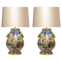 Pair of Cloisonné Vases Mounted as Lamps