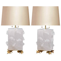 Pair of Fine Carved Rock Crystal Quartz Lamps
