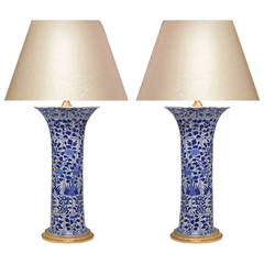 Pair of Blue and White Porcelain Lamps with Gilt Brass Bases