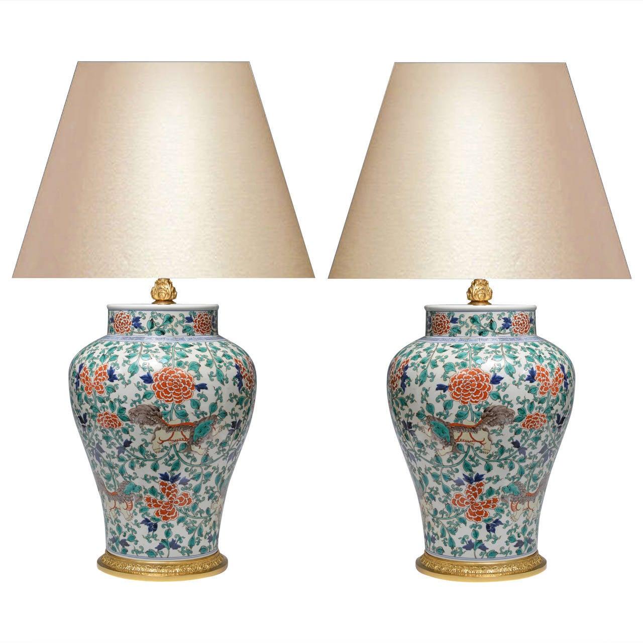 Pair of Fine Painted Famille Verte Porcelain Lamps For Sale