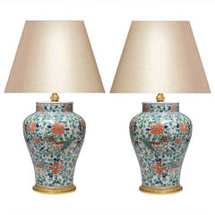 Pair of Fine Painted Famille Verte Porcelain Lamps