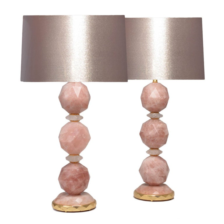 a pair of pink rock crystal lamps at 1stdibs. Black Bedroom Furniture Sets. Home Design Ideas