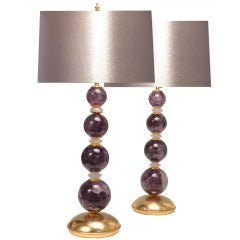A Pair Of Amethyst Rock Crystal Lamps