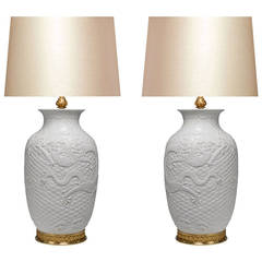 Pair of White Porcelain Lamps with Gilt Bases