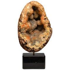 Agate Stone Geode Specimen with Dark Brown Rock Crystal Base