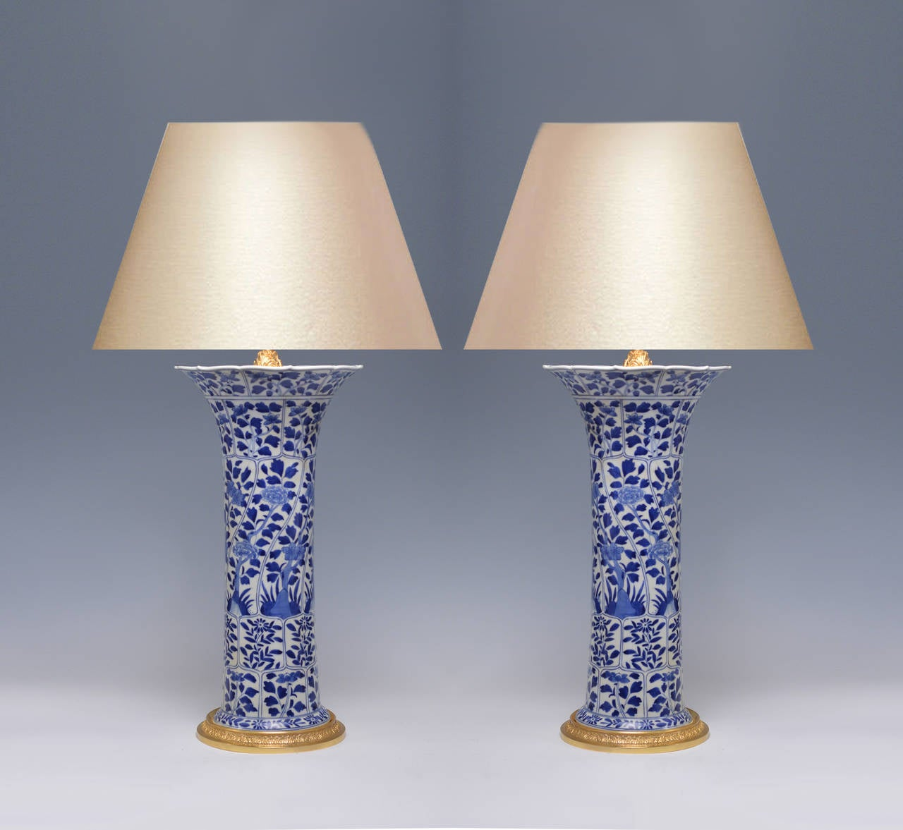 Awesome Pair Of Blue And White Porcelain Lamps With Gilt Brass Bases With Flower  Decoration, 20.5