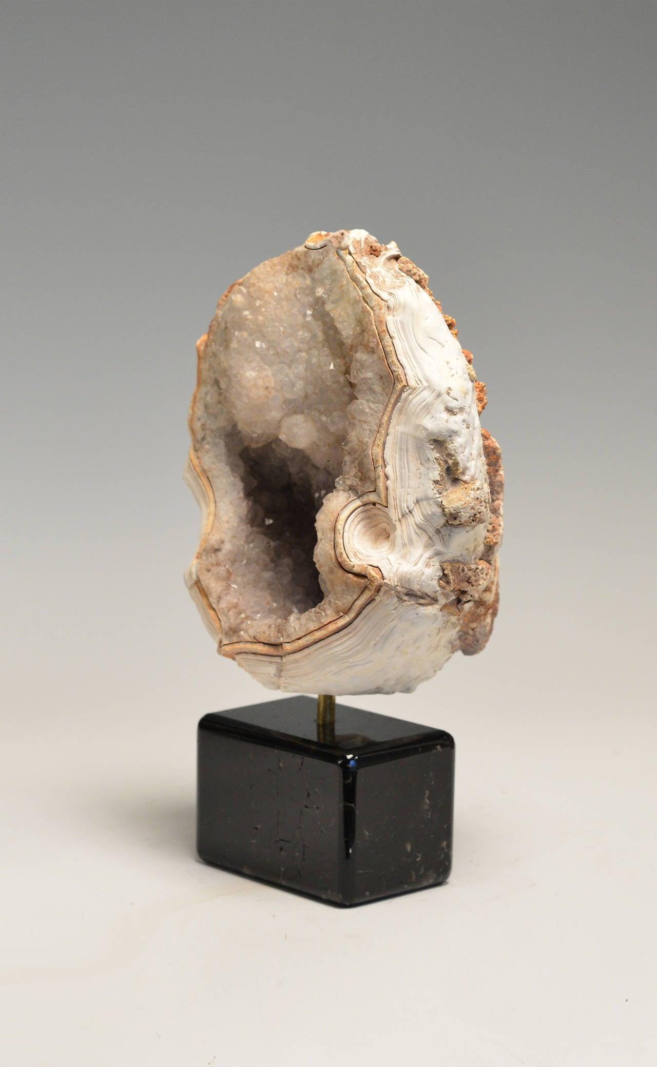 Quartz Geode With Dark Brown Rock Crystal Base For Sale At