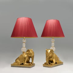 Pair of Gilt Bronze Figures of the Elephants Mounted as Lamps