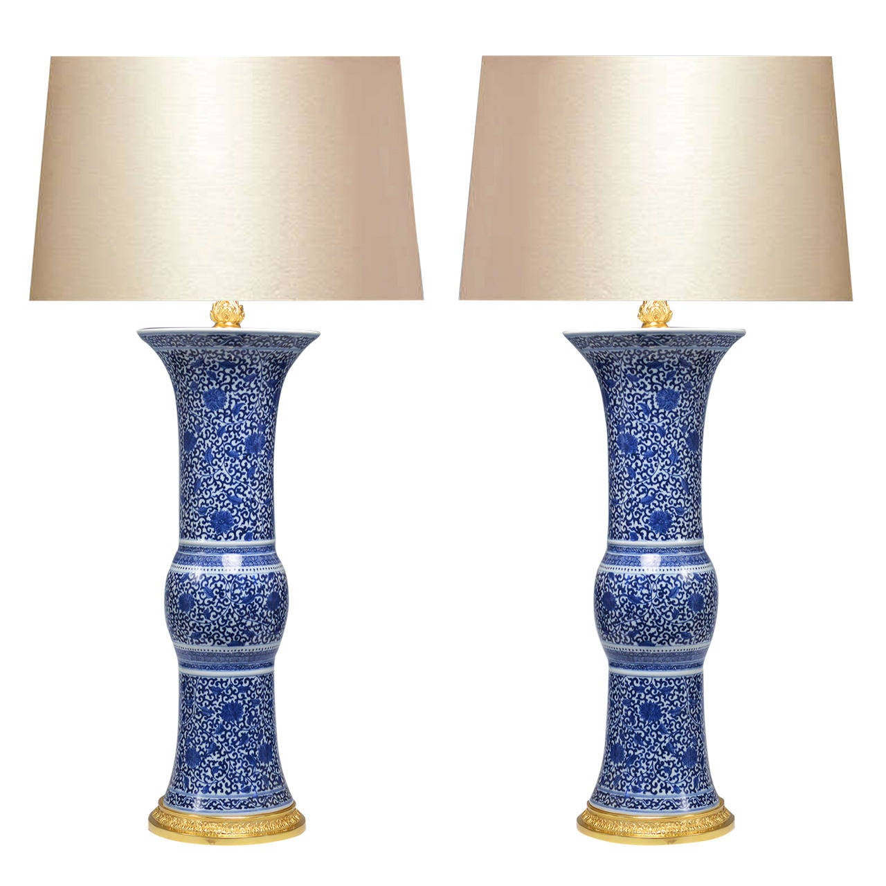 Pair of Fine Painted Blue and White Porcelain Lamps For Sale