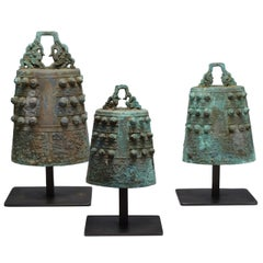 Group of Three Archaistic Form Bronze Bells