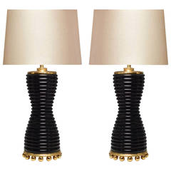 Pair of Fine Carved Black Quartz Lamps