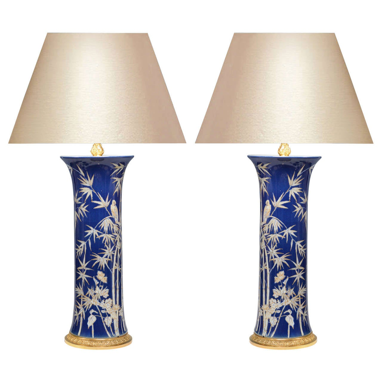 Pair of Fine Painted Blue and White Porcelain Lamps