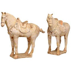 Pair of Painted Pottery Figures of the Horses, Tang Dynasty '618-907'
