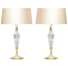 Pair of Deco Style Rock Crystal Quartz Lamps