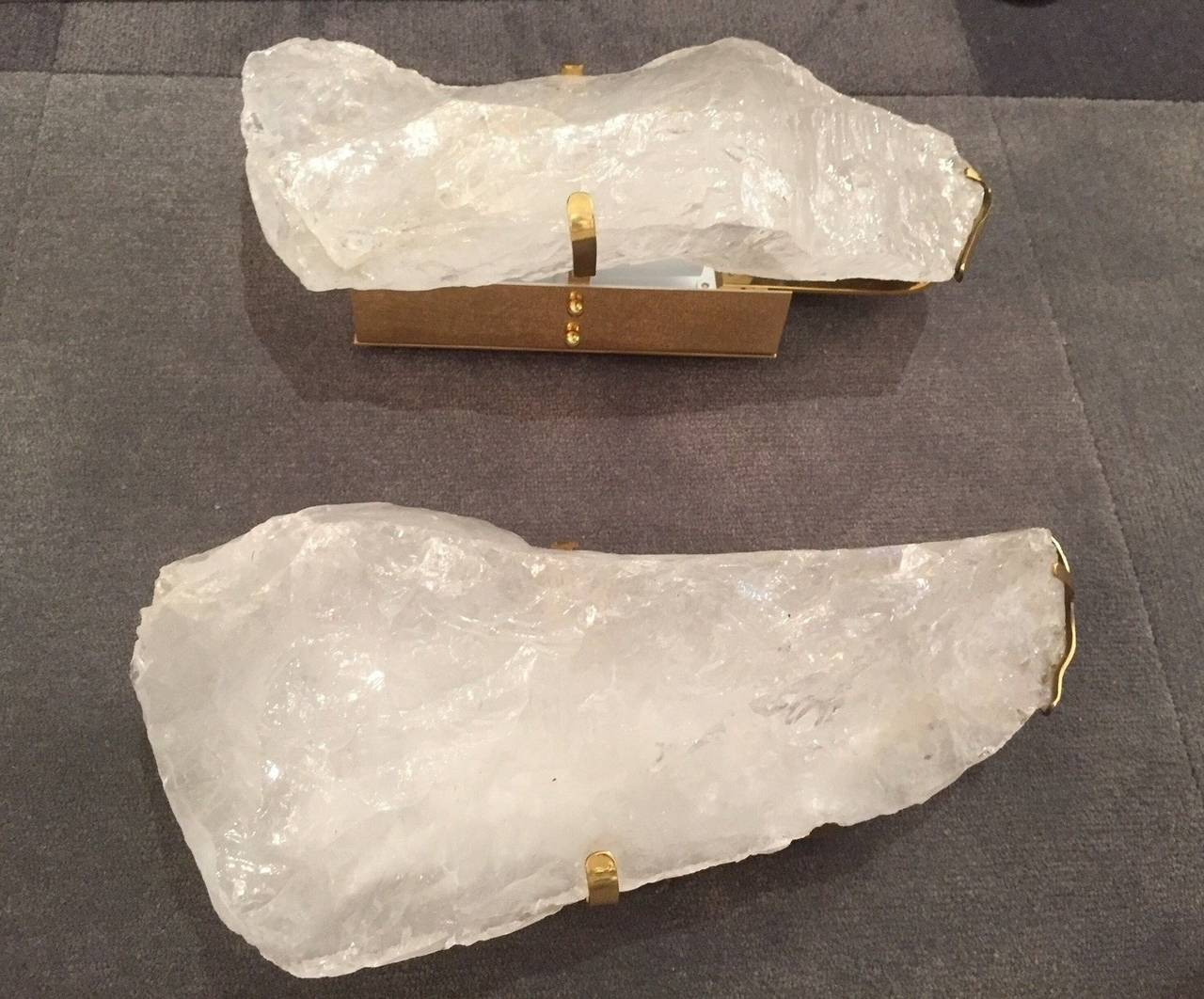 Rock Crystal Wall Sconces : Pair of Natural Form Rock Crystal Wall Sconces at 1stdibs