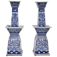 Pair of  Blue and White Porcelain Candle Holders, circa 1930