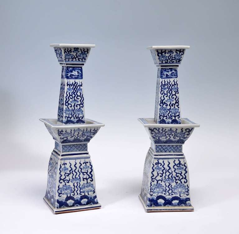 Pair Of Blue And White Porcelain Candle Holders Circa 1930 In Good Condition For