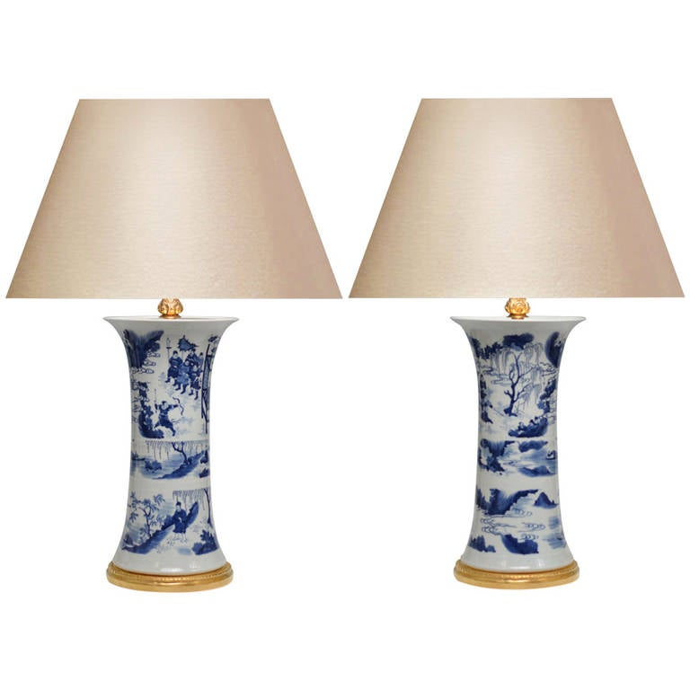 pair of b w blue and white porcelain lamps at 1stdibs. Black Bedroom Furniture Sets. Home Design Ideas