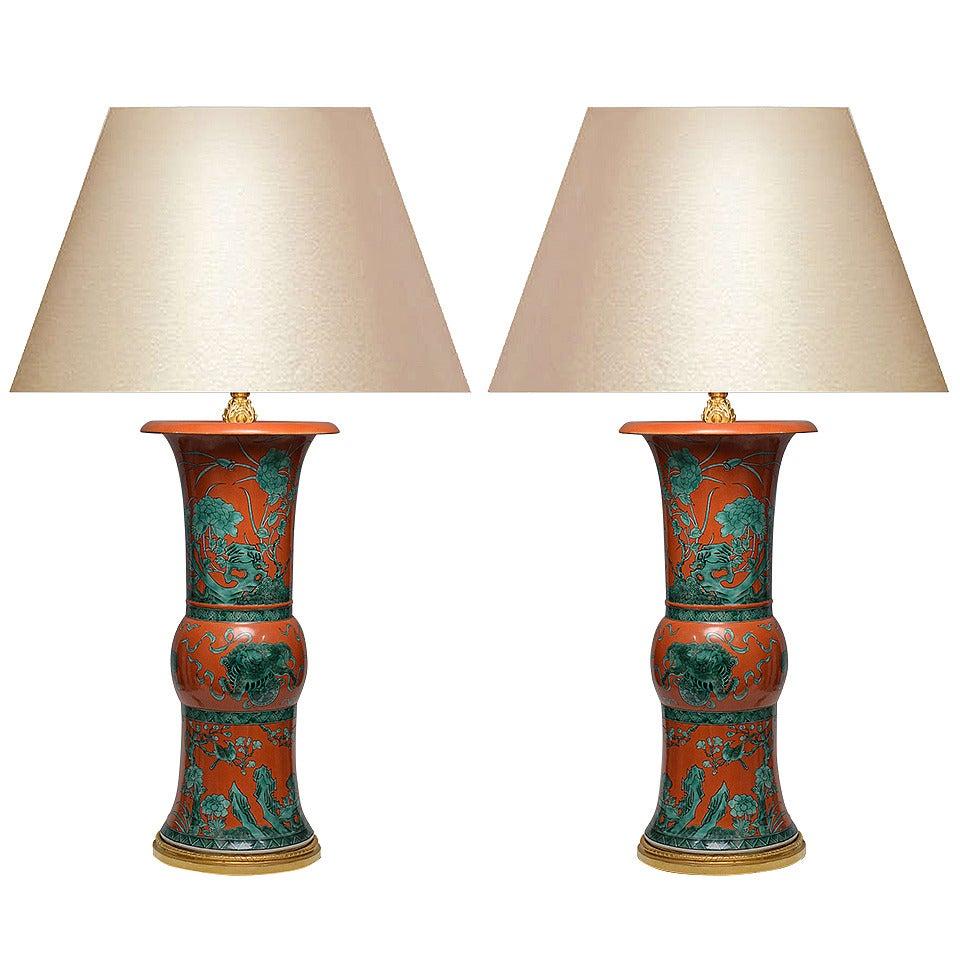 Pair of Famille Verte Porcelain Lamps