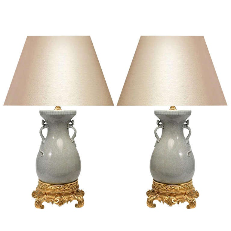 Pair of Ormolu-Mounted Porcelain Lamps