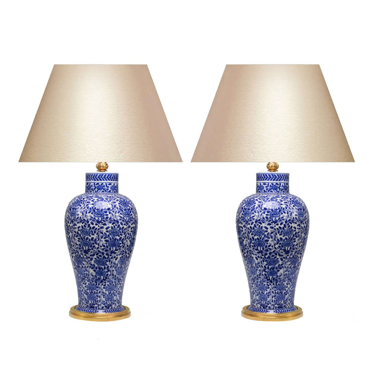 this pair of blue and white porcelain lamps with gilt bronze bases is. Black Bedroom Furniture Sets. Home Design Ideas