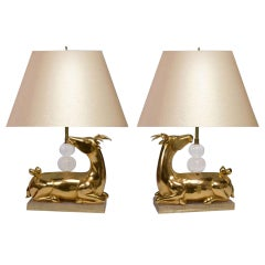 Pair of Gilt Bronze Figures of the Deer Mounted as Lamps
