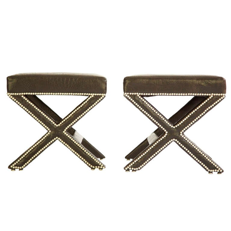 Pair Of Cross Leg Stools At 1stdibs