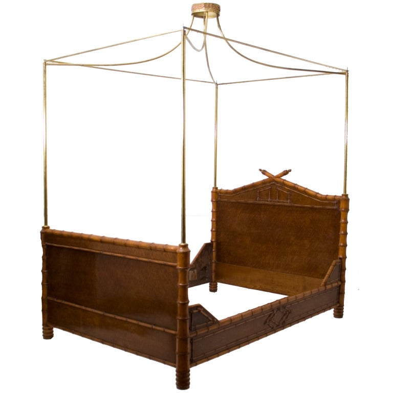 French maple faux bamboo bed with brass canopy at 1stdibs for Brass canopy bed frame