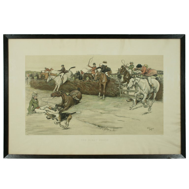 Hunting Print Quot The First Fence Quot By Cecil Aldin At 1stdibs