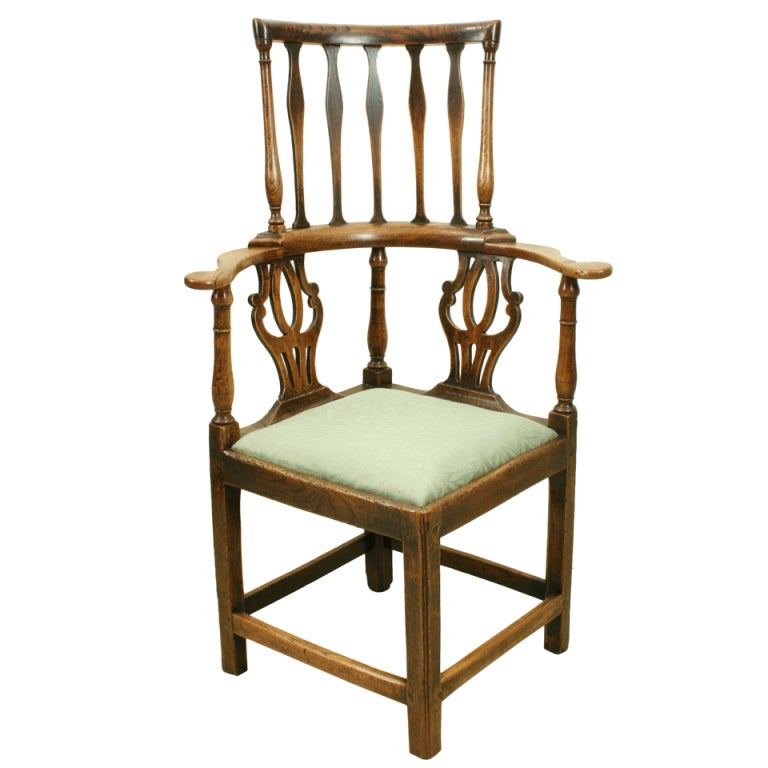 Antique high back corner chair at 1stdibs for Antique high chairs
