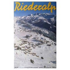"Classic Ski Poster, ""Riederalp"" Wintersport Poster"