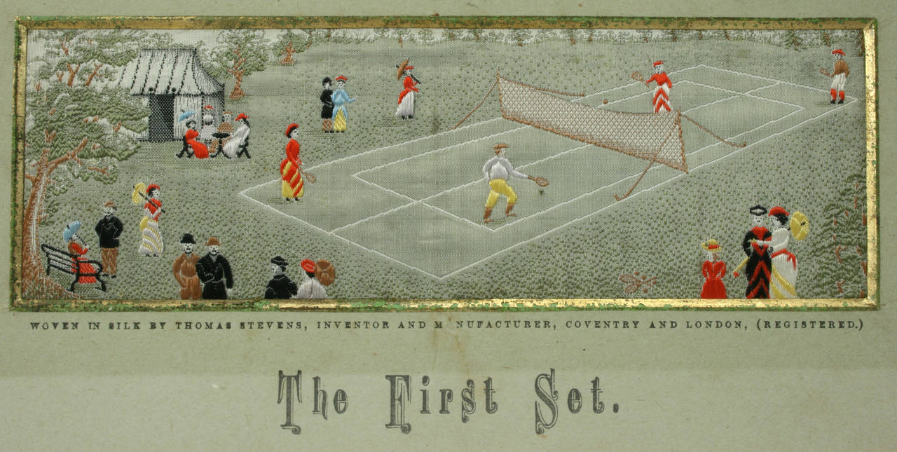 Tennis Stevengraph. This is a wonderful and quite rare piece. A rare late 19th century woven silk Stevengraph of a Tennis Match entitled,