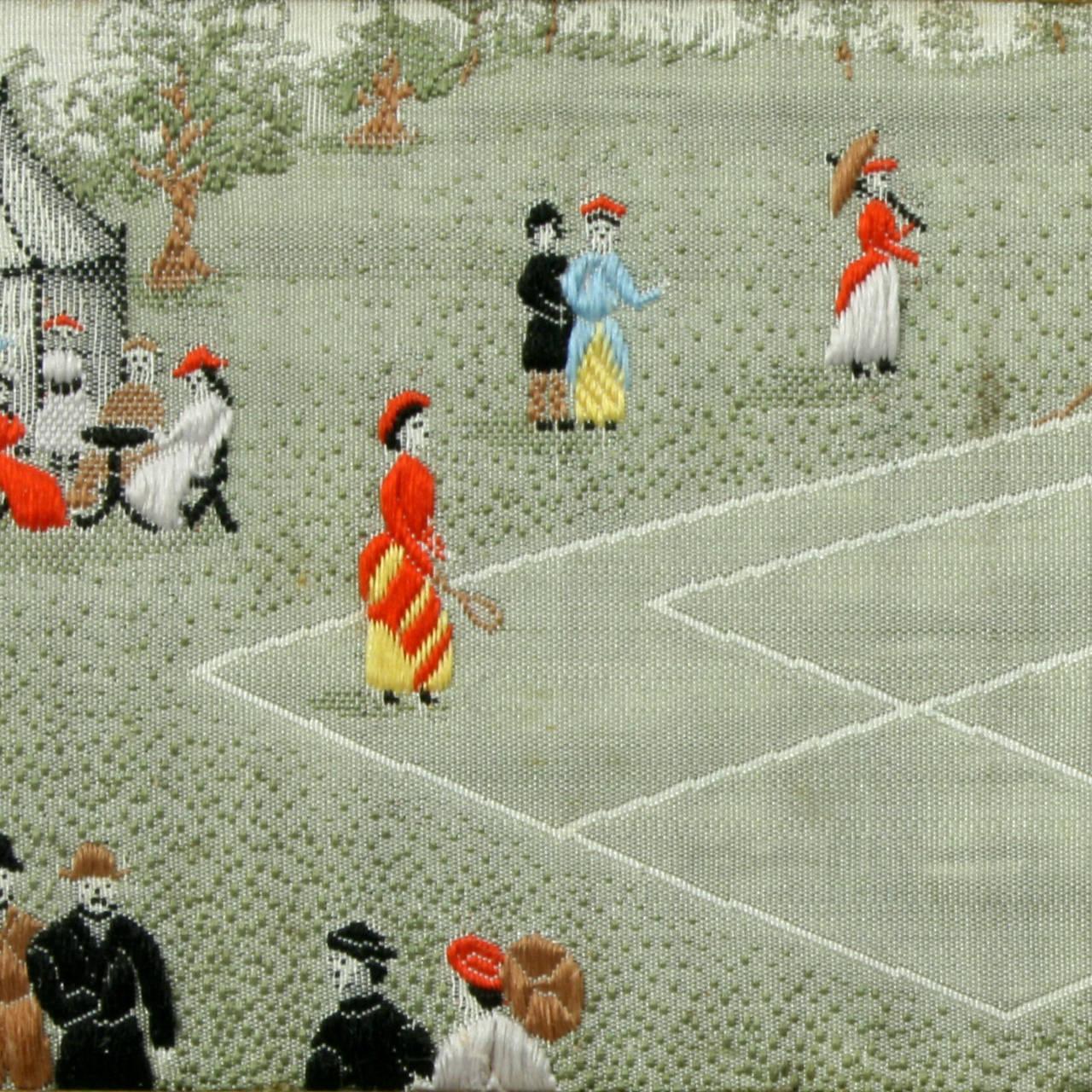 Sporting Art Stevengraph, a Tennis Match, the First Set For Sale