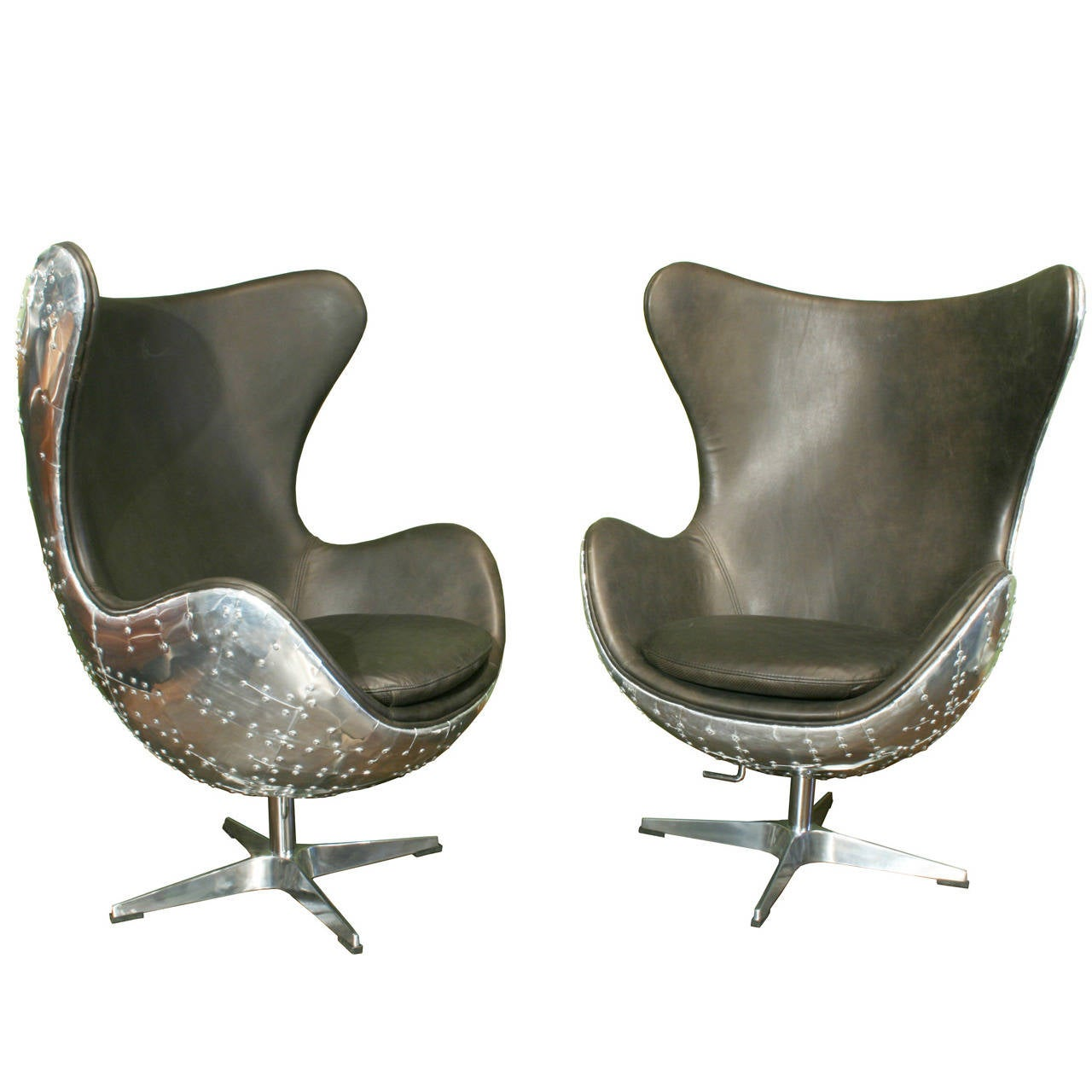 Egg chairs pair of aviator armchairs at 1stdibs for Armchair furniture