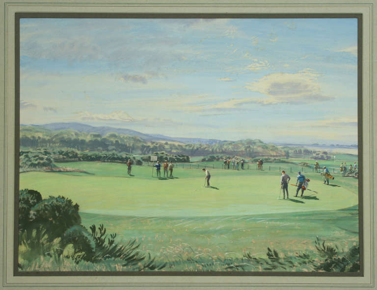 1967 Alcan Golfer of the Year Championship By Arthur Weaver. An original golf watercolour and gouache* of the 6th green at St Andrews by Arthur Weaver. The picture depicting Gay Brewer putting on the 6th green at St Andrews in a playoff against Bill