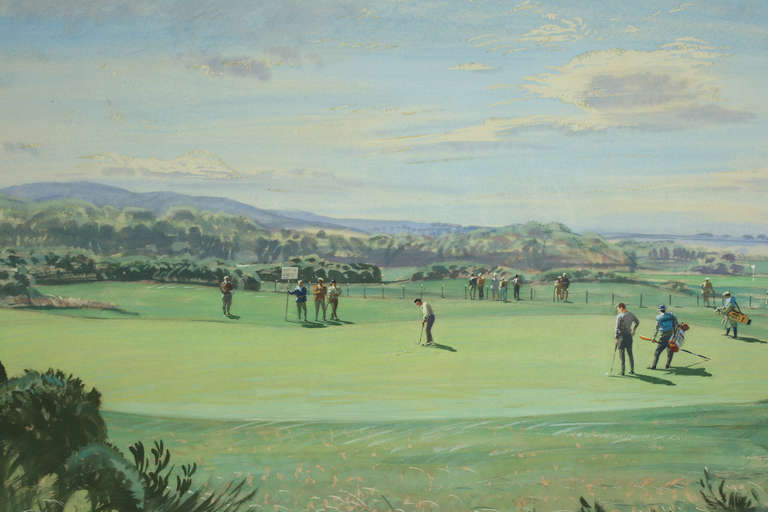 Sporting Art St Andrews Golf Painting by Arthur Weaver, Watercolor Painting For Sale
