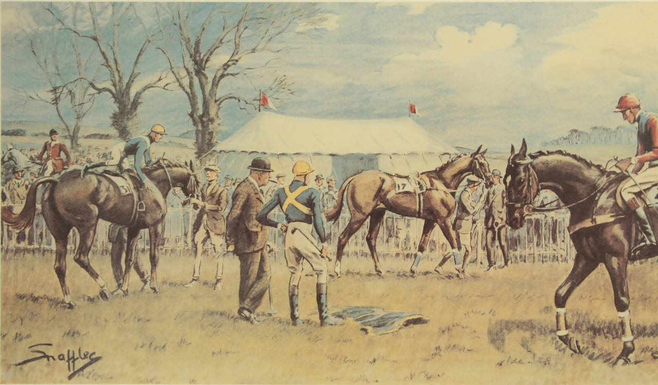 Snaffles Horse Racing Print, Oh! To Be in England.  A good framed Snaffles equestrian print titled 'Oh! To be in England'. The colourful main image shows a mounted jockey, a jockey just getting into the saddle and a jockey standing in the middle of