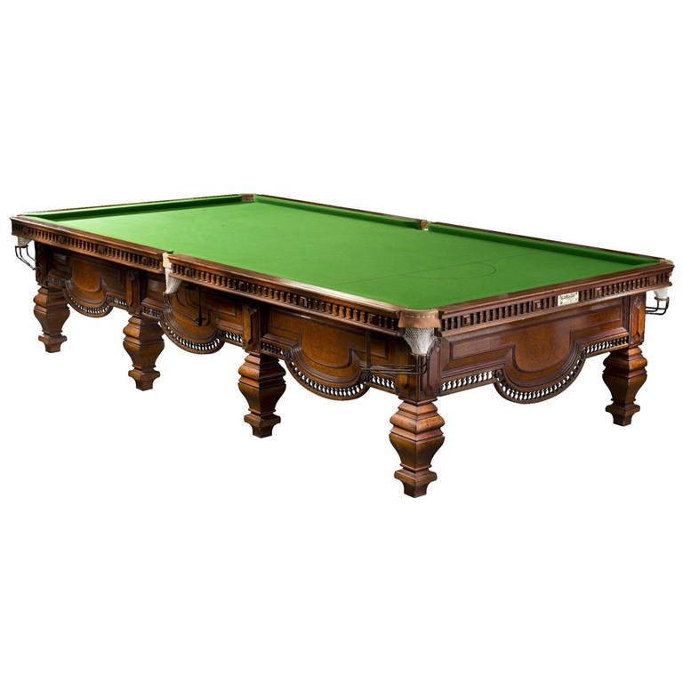 Antique Billiard Snooker Or Pool Table In Burr Walnut