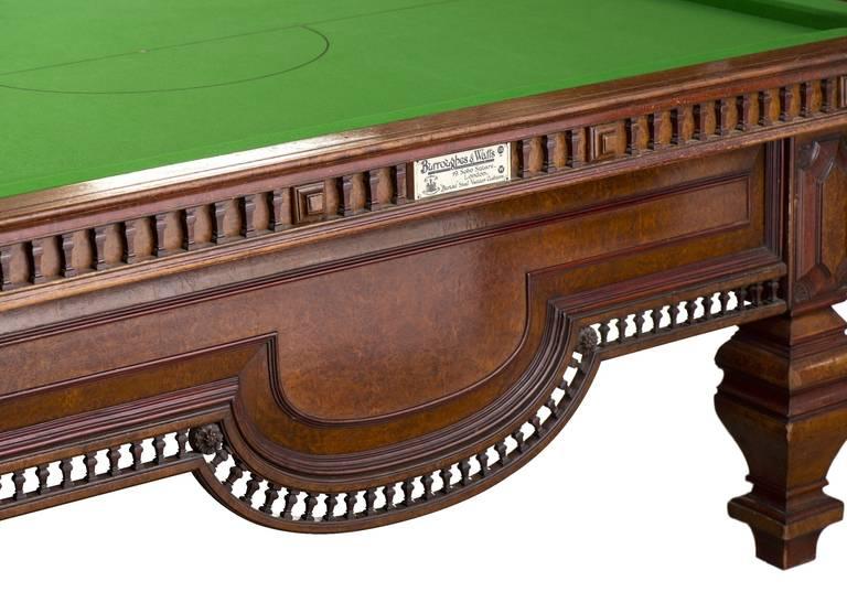 Antique Billiard Snooker Or Pool Table In Burr Walnut